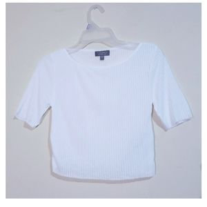 Topshop White Ribbed Crop Top Size 4